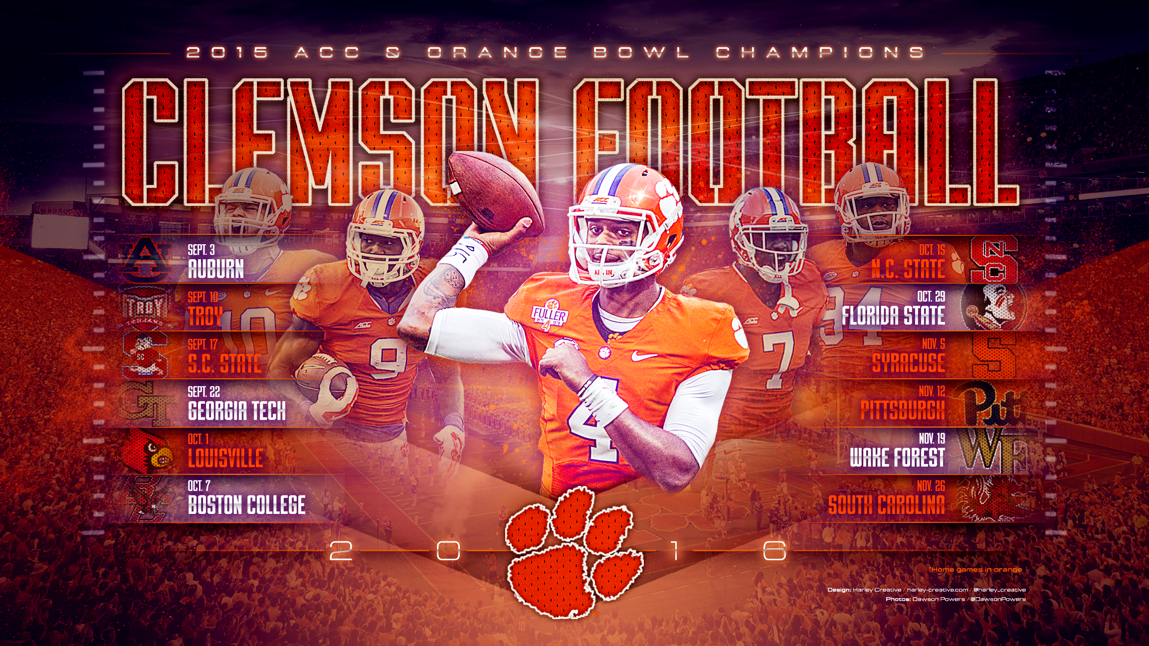 harley creative 2016 clemson football wallpaper